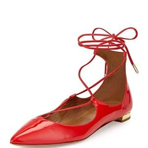 Aquazzura Christy Lace-Up Flats in Red SZ 35.5